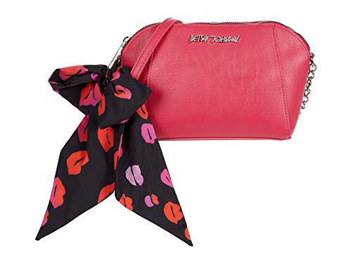 Betsey Johnson XO Anaya Crossbody with Scarf and Chain Strap Black/Red One Size
