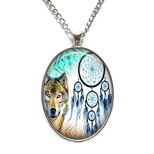 Collar con atrapasueños de lobo – Collar hecho a mano para mujer, collar espiritual, regalo de San Valentín para amigos, collar N253