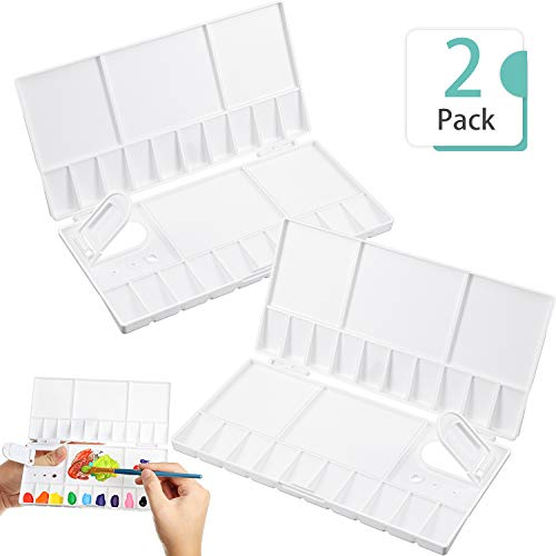 2 Pieces Folding Paint Palette Plastic Palette Box Art Watercolor Palette with Thumbhole for Gouache Acrylic Oil Paint Pigment Tool (8 x 4 Inches)