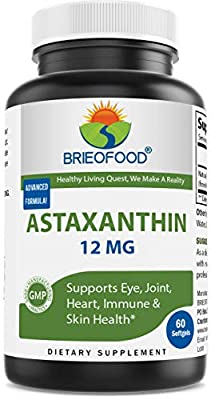 Brieofood Astaxanthin 12mg Premium Antioxidant - 60 Softgels Capsules - Supports Joint, Skin, Eye Health Naturally