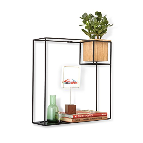 Umbra Cubist Floating Shelf with Built-In Succulent Planter – Modern Wall Décor and Geometric Display Shelf for Books, Candles, Mementos, Photos, Indoor Plants and More!   Large, Black