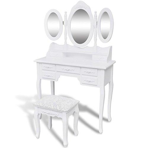 vidaXL Schminktisch Hocker 3 Spiegeln Weiß Kosmetiktisch Frisiertisch Kommode