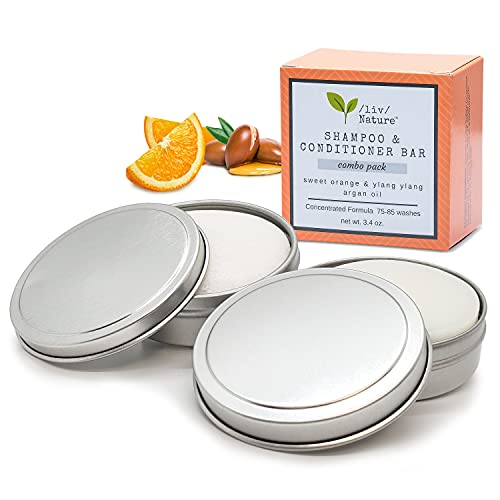 /liv/ Nature Sulfate Free Shampoo Bar and Conditioner Bar with Travel Tins Set, 2 pack Combo, Volumizing Shampoo, Argan oil shampoo and conditioner, All Natural lightly scented with essential oils (Sweet orange and Ylang Ylang) - eco friendly, plastic free shampoo and conditioner, great for Travel