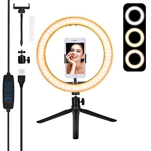 E Eyegrab Selfie Ring Light with Tripod Stand, 3000-7000K Color Temperature LED Ringlight with Removable Glue Dots and Phone Holder (10 inch, Black)