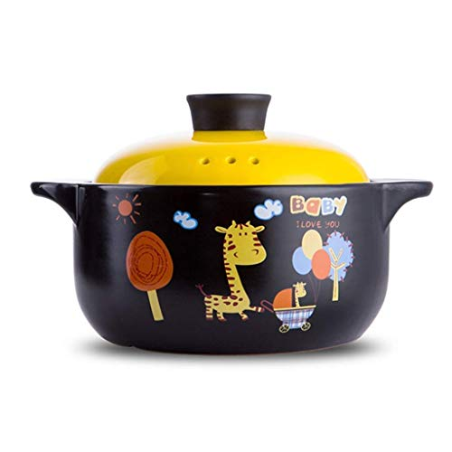 YLJYJ Patrón de Dibujos Animados Cazuela de Plato Redondo de cerámica/Olla de Barro/Olla de Barro/Utensilios de Cocina de cerámica Caja de Regalo Resistente al Calor (Tamaño: 2500ML) (al Aire Libre)