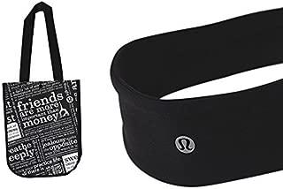 Lululemon Gym Tote Lunch Yoga Bag and Fly Away Tamer Black Headband Workout Bundle