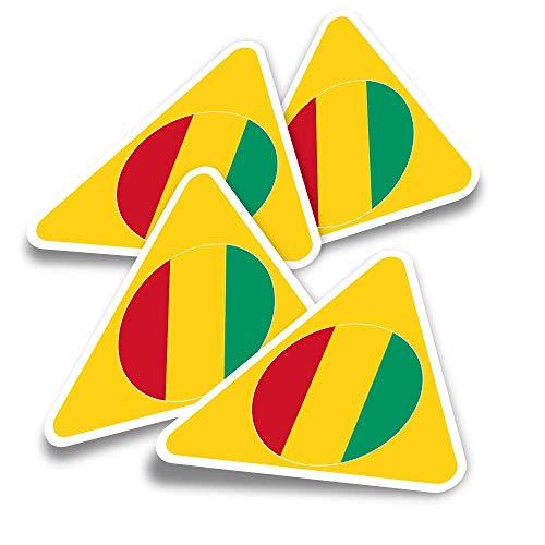 Pegatinas triangulares de vinilo (juego de 4) – Bandera de Guinea West Africa Travel Fun Calcomanías para portátiles, tabletas, equipaje, reserva de chatarra, neveras #9093