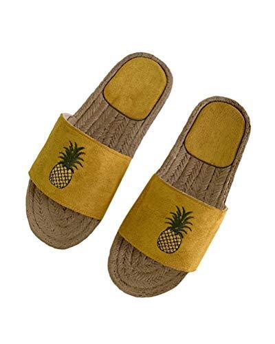 Minetom Schlappen Damen Schleife Sommer Sandalen Flache Espadrille Sandaletten Peep Toe Sommerschuhe Ananas Muster Strand Hausschuhe Pantoffeln Flip Flop C Gelb 38 EU