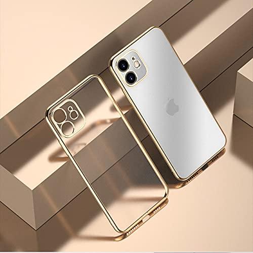 Cajas de teléfono con Borde galvanizado para iPhone 11 12 Pro MAX XR XS XS MAX X 8 7 Plus 12 Mini TPU Suave, Dorado, para IP 12 o 12 Pro