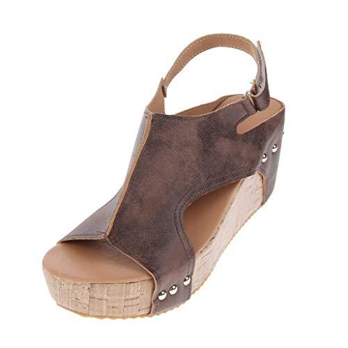 Sandalia de Plataforma Cuero con Tachuelas Zapatos de Tacón Alto Chanclas de Verano Playa - marrón, 40 (Varios)