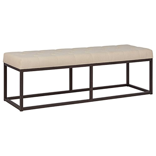 "Amazon Brand – Stone & Beam Contemporary Metal Bedroom Bench with Cushion, 58""W, Oatmeal"