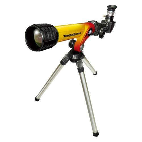 Tele-Science 32002 100 Power - Telescopio HD con espejo diagonal y trípode, color amarillo y rojo