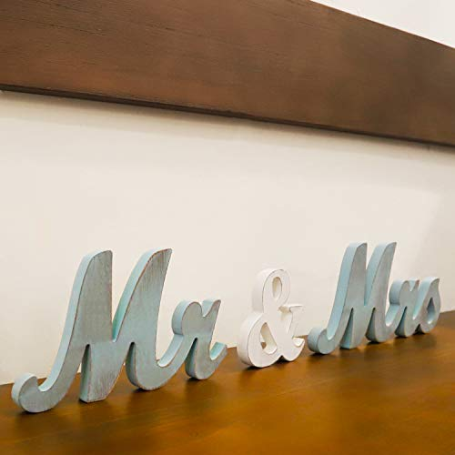 Mr Mrs Sign for Wedding Table,Mr and Mrs Wooden Letters,Large Mr. & Mrs.Party Decoration Items,Head Table Wedding Wood Letter,Just Married Sign Anniversary Party Valentine's Day Vintage Decor,Blue