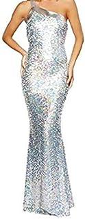 فستان حفلات طويل للنساء ابيض مقاس مناسب وبفتحة ظهر (21115)
