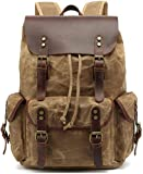HuaChen Canvas Leather Backpack for Men Women,Vintage Travel Waxed Rucksack,Large Daypack for Laptop School Bag (M80_Khaki)