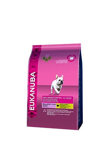 Eukanuba Weight Control für kleine und mini Rassen, fettarmes Hundefutter zum Gewichtserhalt oder Diät bei Übergewicht, 3 kg