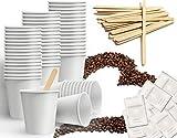 Kit d'accessoires à café composé de 150 gobelets en carton recyclables de 75 ml, 150 sachets de sucre, 150 touillettes en bois 9 cm (kit de base)