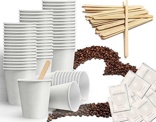 Kit de accesorios de café formado por 150 vasos de cartón reciclables de 75 ml – 150 bolsitas de azúcar – 150 palitos de madera embalados individualmente de 9 cm (Kit Base)