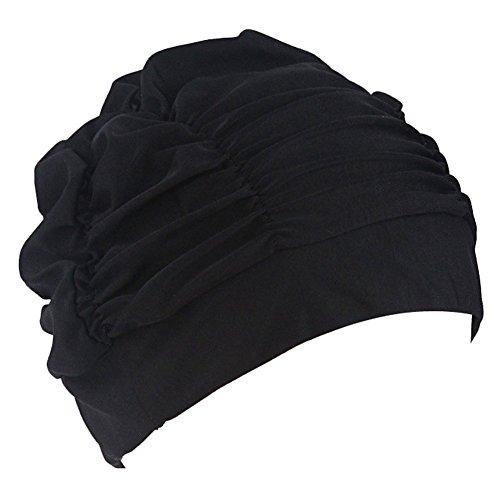 Bonnets de bain en tissu plissé pour cheveux longs TININNA Bonnet de bain Bonnets de bain pour femme