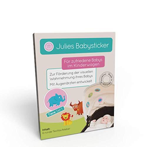 Julies Babysticker - Pegatinas calmante para viajes en el cochecito, asiento infantil - Relaja y mantiene al bebé - Contraste juguetes desarrollados con oftalmólogos - para niñas y niños (animales 1)