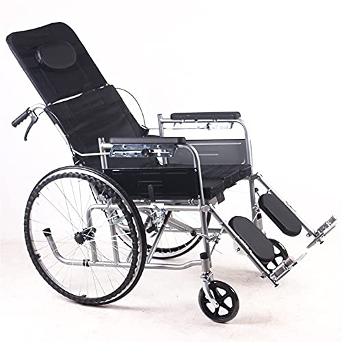CHHD Transport Wheelchair - Full Recumbent Elderly Pregnant Women Folding Back Travel Wheelchair Folding Lightweight and Portable Free Installation and No Inflatable Easy to Operate