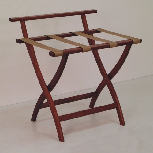 Why Choose Wooden Mallet WallSaver Luggage Rack, Mahogany, Tan Straps