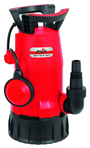 Grizzly 750 Watt leistungsstarke Kombi Tauchpumpe TKP 750 3in1 Tauch Pumpe für Klarwasser und oder Schmutzwasser Flachabsaugend