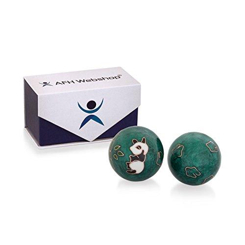 Meditation Qi-Gong-Kugeln mit Klangwerk | Klangkugeln | Yin Yang | Design Panda grün | verschiedene Durchmesser (Ø 30 mm)