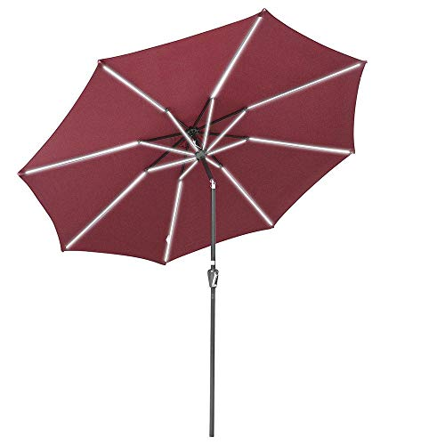 Yescom 10ft Solar Powered Patio Umbrella with Tilt and Crank 8 Ribs Outdoor Market Table Umbrella for Garden Pool Terra
