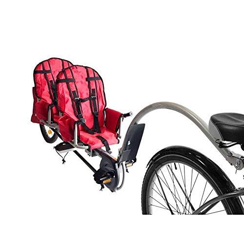 Qnlly Twins Fahrradanhänger mit Anschluss, 20 Zoll Air Wheel Steel Kinderanhänger für 2Kinder, 2 Passenger Bike Trailer