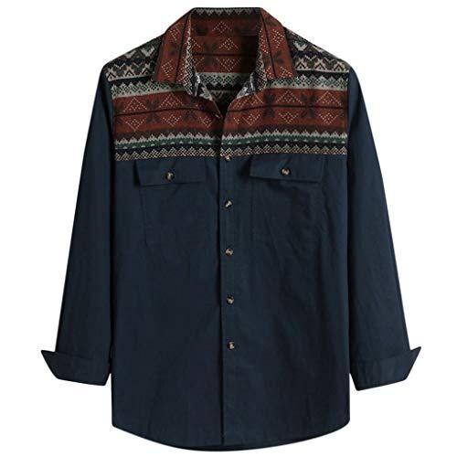 MCYs Herren 3D-Druck Rundhals Pullover mit Kapuze, Mens Cool Handsome Ethnic Style Gedruckt Langarm Revers Double Pockets Shirt