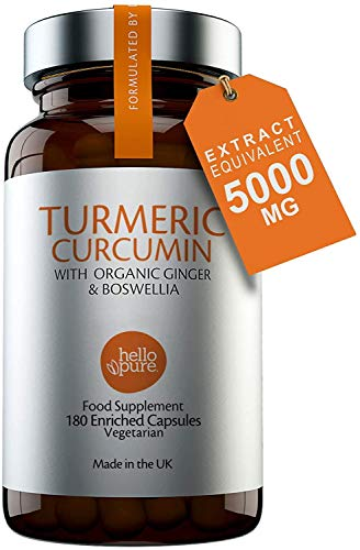 Vegan Turmeric 5000mg 180 Capsules - Triple Strength Turmeric Supplements with Pure Ginger & Boswellia Rather Than Black Pepper - Turmeric Tablets - Active Curcumin Capsules - Made in The UK