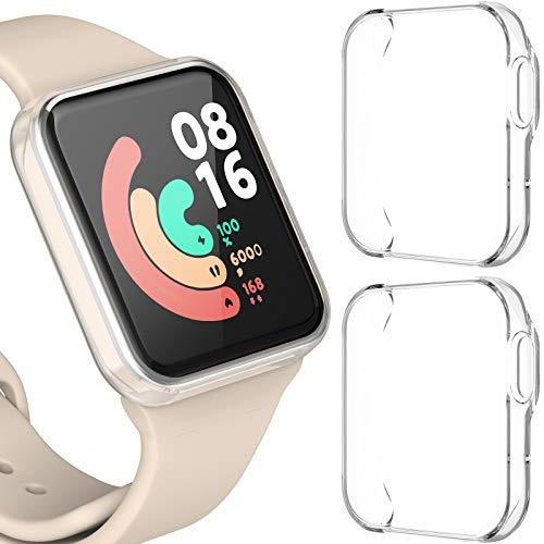 CAVN Custodia Compatibile con Xiaomi Mi Watch Lite/Redmi Watch Lite Pellicola Protettiva [3 pezzi], Pellicola Protettiva Flessibile in TPU per Protezione Totale, Antigraffio per Xiaomi Mi Watch Lite