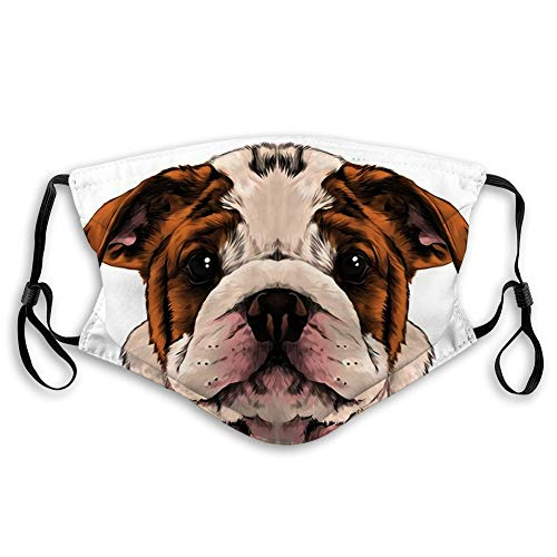 Breathable Mouth Face Scraf Shiled Bandana Dog Breed American Bulldog Head Sketch Graphics Picture