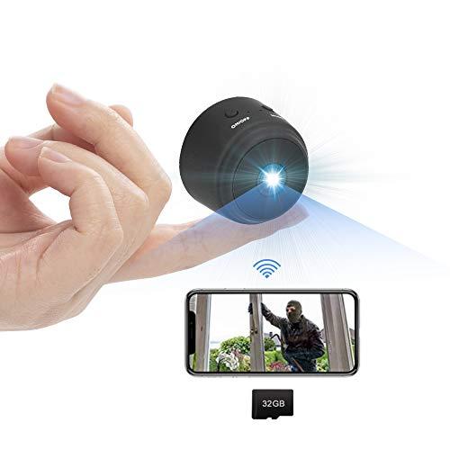 Cámara espía HD 1080P mini cámara WiFi oculta Grabadora de audio y vídeo oculta vigilancia para visión nocturna Detección móvil Soporte máximo tarjeta SD de 128 G