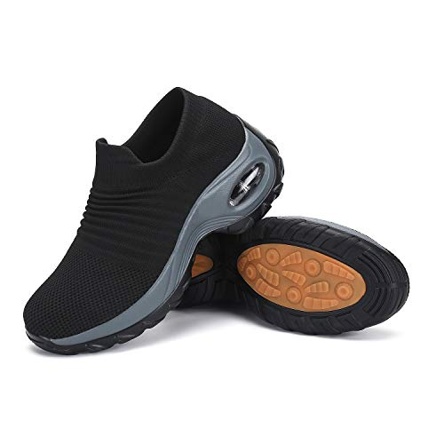 Zapatos Deporte Mujer Zapatillas Deportivas Correr Mesh Calzado de Caminar Trabajo Bambas Running Negro1, Gr.38 EU