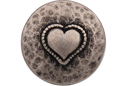 6 Stück Silber geschwärzt, antik, Metall Knöpfe Herz günstig 15mm oder 18mm Metallknöpfe, Trachtenknöpfe (15mm)