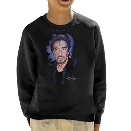 Vintro Al Pacino Goatee Kinder Sweatshirt Original Portrait von Sidney Maurer professionell bedruckt Gr. S, jet black