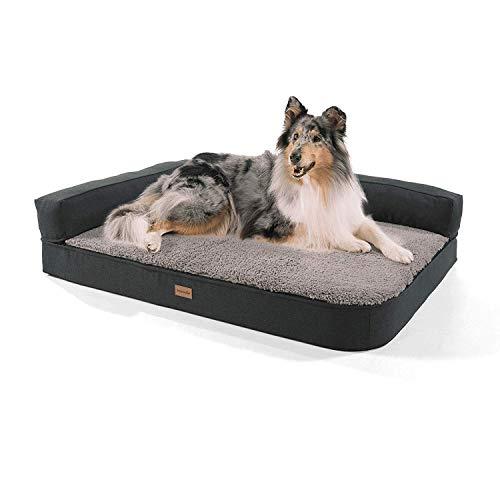 brunolie Odin Sofá para Perros Grande Gris, Lavable, ortopédico y Antideslizante, Cama para Perros con Bordes extraíbles, Tamaño L (120 x 80 x 12 cm)