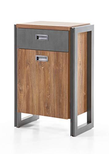 Newfurn dressoir commode industriële dressoir highboard multifunctionele kast II 54 x 81 x 35 cm (B x H x D) II [Freddy.Fifte] in eiken strand decor/antraciet woonkamer slaapkamer eetkamer