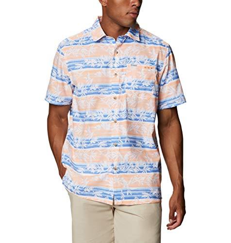 Columbia Camp Shirt Super Slack Tide-Camiseta de Campamento, Hombre, Brillante Néctar Ombre Fish Stripe, 5X Tall