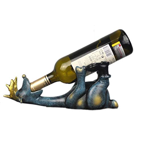 Botelleros Botellero vino Drunken ciervos vino titular de la botella de bebida de resina Escultura Elk Vino Bastidores animal rústico Estatua de mentira creativo ciervos vino destaca regalo decorativo