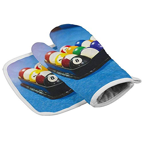 Oven Mitts Insulation Gloves Heat Resistant Glove Insulation Hot Pan Mat Kitchen Cooking Tool for Microwave Oven Baking Barbeque Set of 2,Cool Pool Table Snooker,Kitchen Set