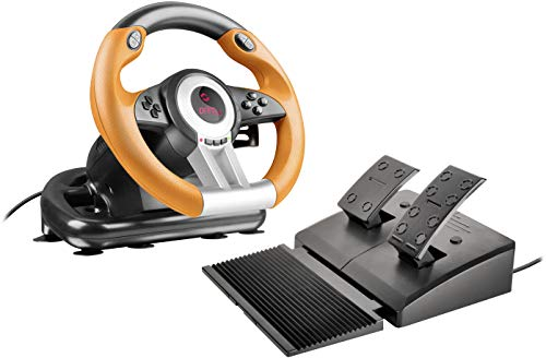 Speedlink Drift O.Z. Racing Wheel PC, Pedale Freno e Acceleratore, Nero-Arancio