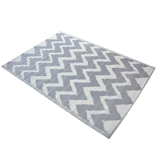 Werner Voss Outdoor Teppich Verschiedene Muster und Farben grün/Creme, blau/Creme, grau/Creme Kunststoffteppich 120 x 180 cm (grau/Creme)