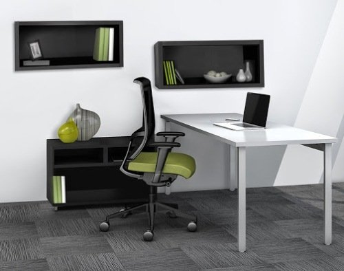 "Mayline Reconfigurable Desk & Hutch Set Desk: 60""W X 24""D X 29.5""H Open Storage Cabinet: 30""W X 18""D X 21.75""H Hutch: 30""W X 15""D X 15""H Desk Work Surface Is 1 1/8"" Thick Thermally Fused Laminate"