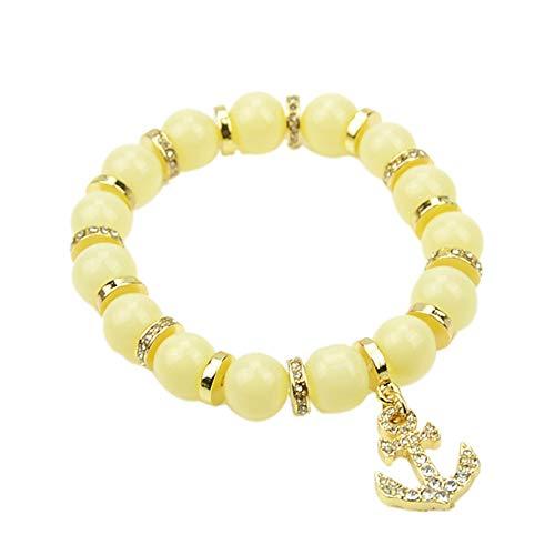 Feelontop® Modeschmuck Gold Metall mit beige blauen schwarzen Perlen Pfeil Bettelarmband Armreifen für Frauen mit Schmucketui (beige)
