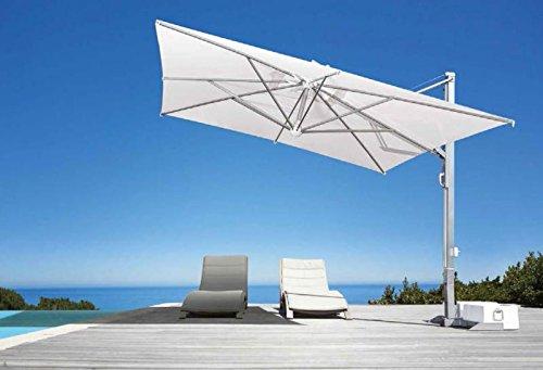 Parasol déporté - Galileo White ou Inox Carré 4x4m Acrylique Dralon 350g/m2 Noir S1 Mât Blanc Sans volants