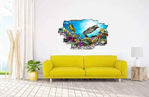 Wandaufkleber 3D Spiegel Ansicht Durchbrechen die Mauer Vinyl Wandsticker Entfernbar DIY Vinyl Wandtattoos Meer Fische Schildkröte, für Wohnzimmer, Schlafzimmer,Kinderzimmer 80x125cm