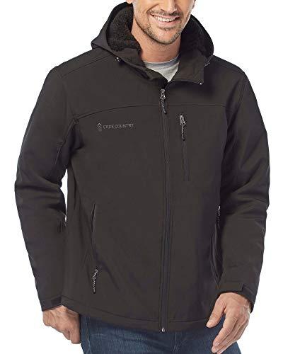 Free Country Men's Cross Trail Berber Lined Softshell Jacket (Black, Medium)